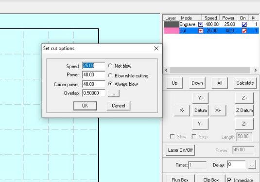 Lasercut 5.3 settings