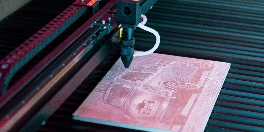 Laser Engraving Mini Cooper on wood