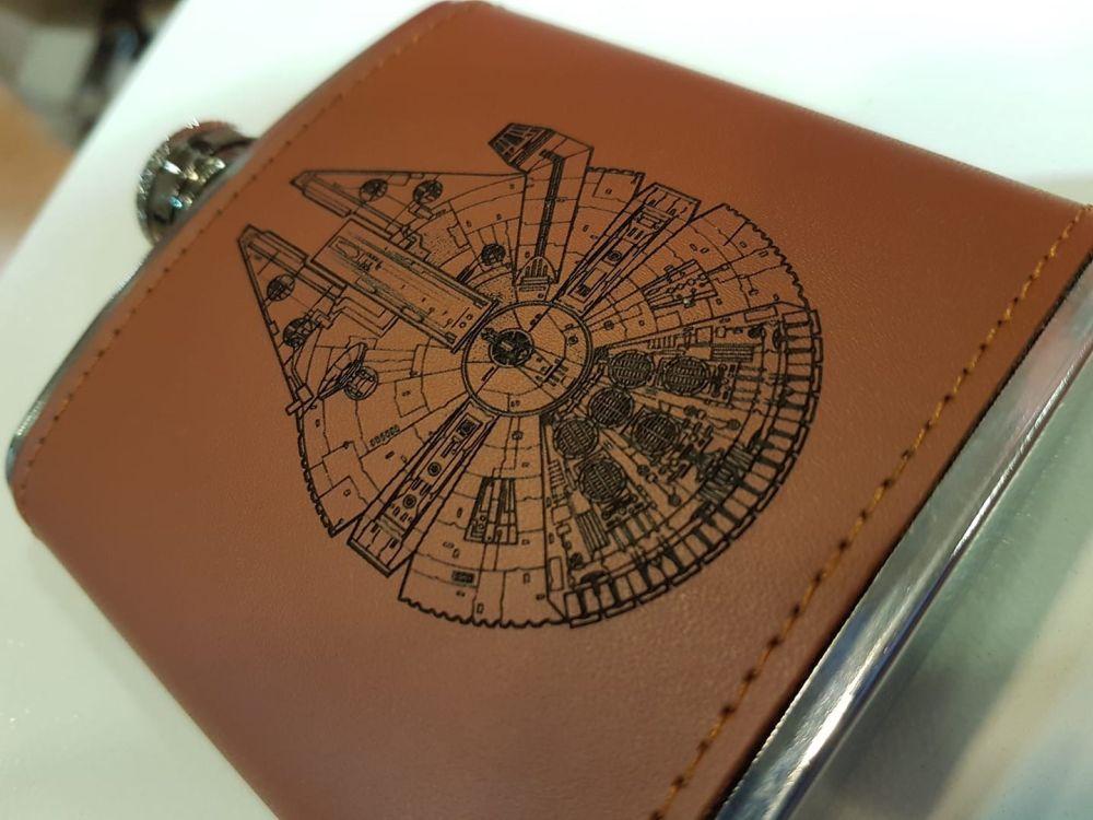 Laser Engraved Leather Hip Flask