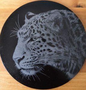 Engraved Leopard Coaster