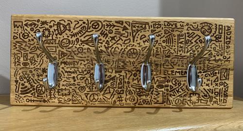 Laser Engraved Wood Coat Hook