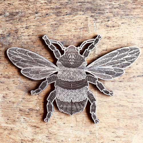 CO2 Laser Engraved Walnut Bee