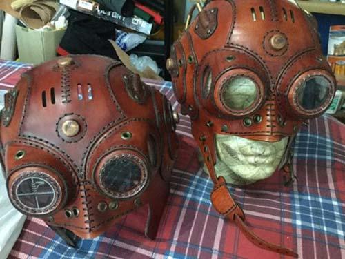 CO2 Laser Cut Leather Steampunk Helmets