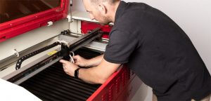 Engineer and laser cutter