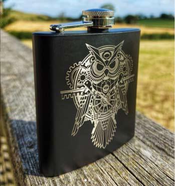 Laser Engraved Hip Flask
