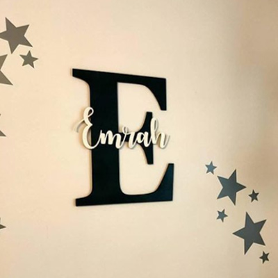 Laser cut letter and name