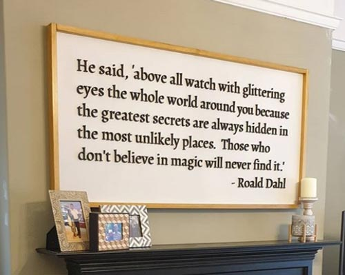 Laser Engraved Quote Decor