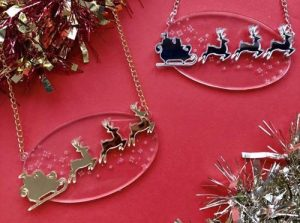 Laser Cut Acrylic Christmas Necklace
