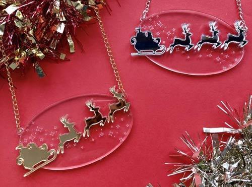 Laser Cut Acrylic Christmas Necklace