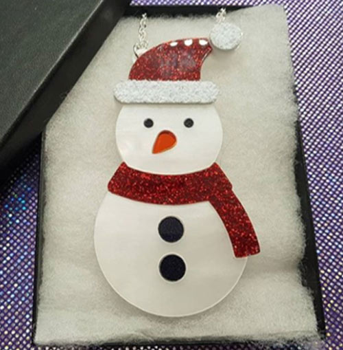 Laser Cut Acrylic Snowman Necklace